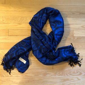 Blue Pashmina Scarf with Swirls